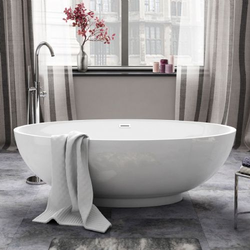 AquaSoak 1685mm Modern Oval Double Ended Freestanding Bath Tub Acrylic Designer